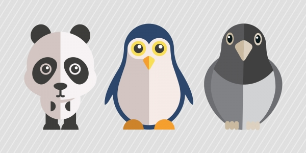 Panda, Penguin, and Pigeon